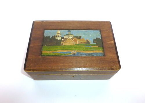 Hand-painted Wooden box Tin Russia um 1900