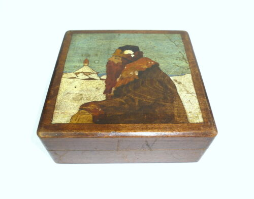Rare Hand-painted Wooden box Tin Russia um 1900