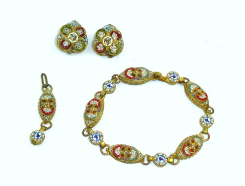 Jewelry Set Bracelet Ear Clips Pendant Fine Micro Mosaic Italy about 1900