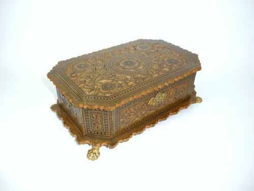 Rare Biedermeier Wooden box um 1830 France / Switzerland Casket Tin