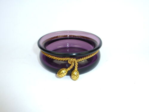 Unusual Glass Bowl With Brass Ornament Moser Carlsbad about 1920