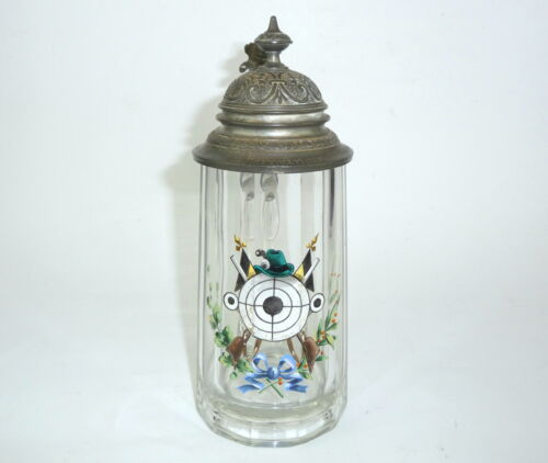 Glass jug with Tin outfit um 1900 Beer Stein Jug Hunter Shoot Target