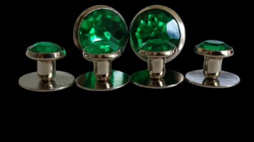 NEW Mens Silver Green Faux Crystal Cufflinks Tuxedo 1Yr. guarantee TUXXMAN