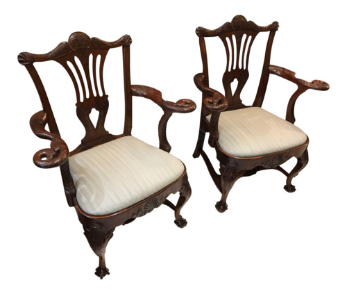 Pair of Antique 19 C English Eagle Carved Chippendale Walnut Ball & Claw Chairs