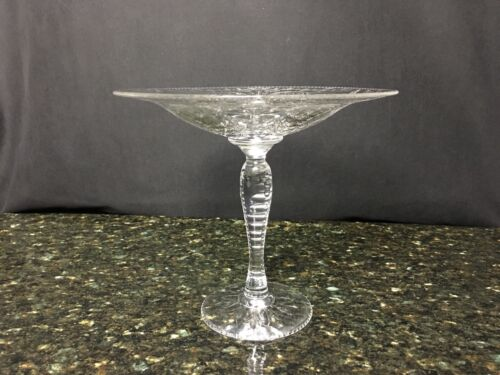 "Beautiful Antique Hawkes Crystal Compote 7&3/8"" High & 8&3/8"" Wide(2 available)"