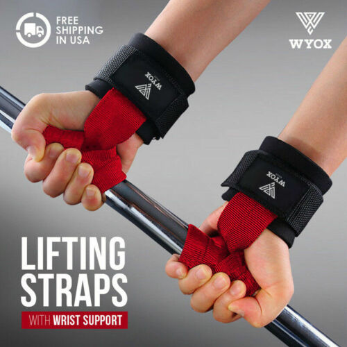 Power Lifting Bar Straps With Wrist Support Wraps Weightlifting Cross Fit Gym