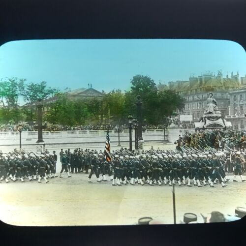 Vtg Antique Magic Lantern Glass Slide Photo American Soldiers In Europe WWI Flag