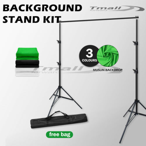 2700W Photography Softbox Studio Lighting KIT+Backdrop Screen Support Stand SET