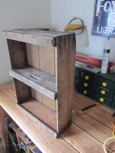 Vintage Wood Fruit Crate Shelf Old Rustic Primitive Country Shabby Barn