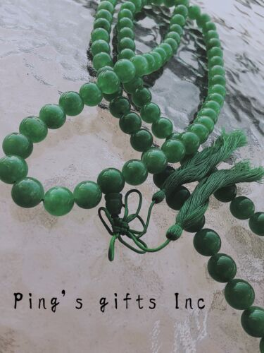 Chinese Asian Tradition Green Beads Jade Necklace With Green Knot 25''