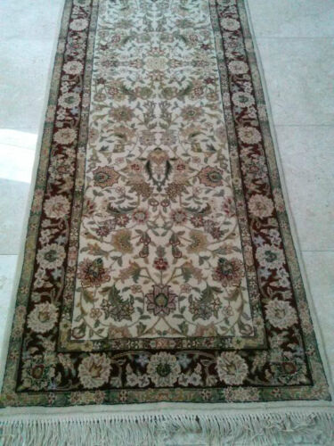 Cream & Cranberry Fine Hand Knotted Wool/Silk Area Rug Runner 2'-7x14'