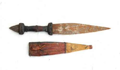 Antique African Ethnic Tribal Double Edged Knife Dagger With Leather Sheath