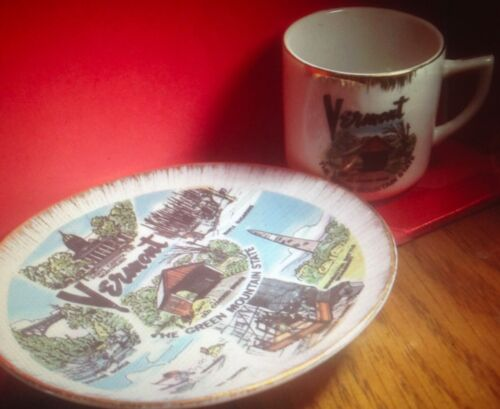 Vintage Small Vermont Souvenir Porcelain China Cup and Saucer Set. Made in Germa