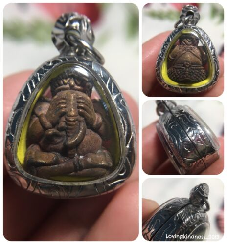 Pidta Phra Pikanet Ganesh Elephant Hindu God Amulet Luck Love Charm Wealth