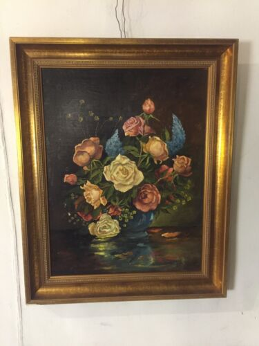 "Painting,Oil On Canvas Antique Floral ""Kirschstein.Gilded Frame.12pix.MAKE OFFER"