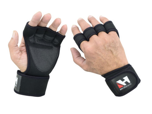 FITNESS WEIGHT LIFTING GLOVES TRAINING EXERCISE BODYBUILDING WRIST WRAPS GLOVES