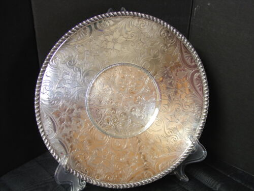 """Silver Tray Engraved Academy Silverplate 10.5"""" diameter Plate Bright Cut"""