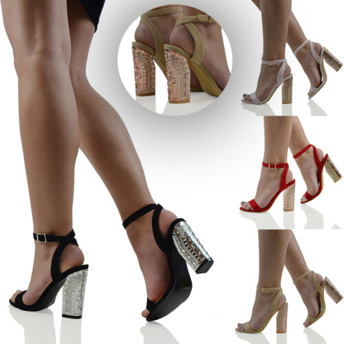 Womens Ankle Strap Sandals Block Heel Ladies Open Toe Buckl Strappy Party Shoes