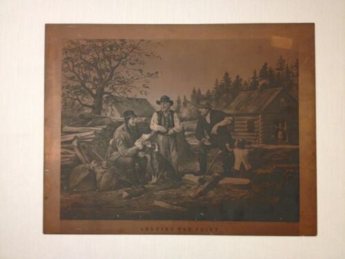 1855 Currier & Ives Arguing The Point Copper Print Sheet