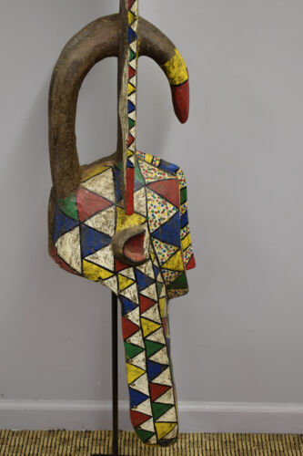 African Mask Burkina Faso Bobo Antelope Colorful Red Blue Yellow Dance Mask