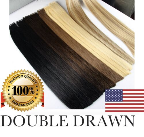 """DOUBLE DRAWN US STOCK 16"""" 18"""" 20"""" 22"""" 24""""  Tape In PU Human Hair Extensions"""