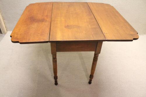 Antique 19th C. American Country Solid Cherry Drop Leaf Breakfast Table