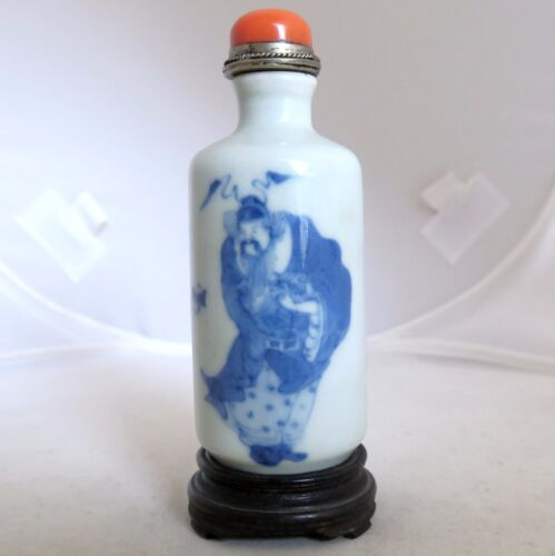 "Antique Chinese Blue & White Porcelain Snuff Bottle w/ Stand & Red Coral  (4.1"")"
