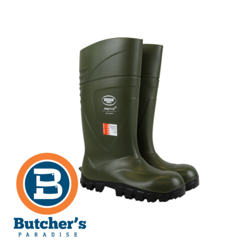 BUTCHERS BEKINA STEPLITE X GREEN SAFETY BOOTS WITH STEEL CAP (MADE IN BELGIUM)