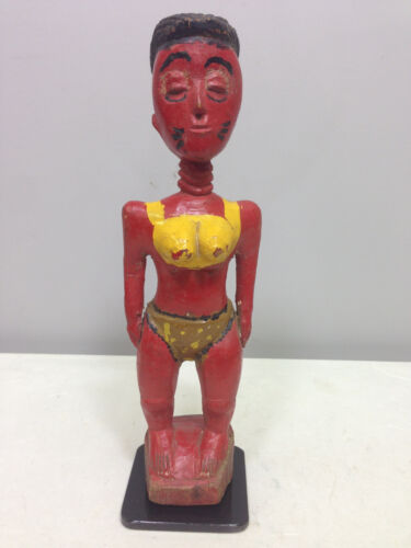 African Baule Ivory Coast Female Statue Hand Painted Red