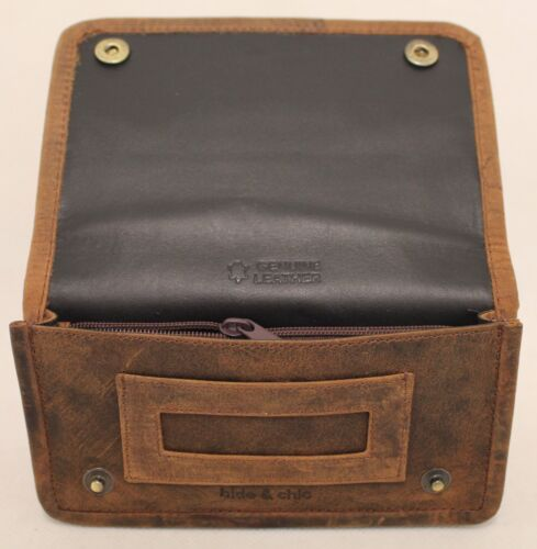 Quality Full Grain  Vintage Leather Tobacco Pouch. Style:12033. BLACK/BROWN