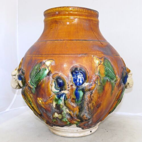 """11"""" TANG Style Chinese 4 Color SANCAI Glazed Figural Vase w/ People & Ox Heads"""