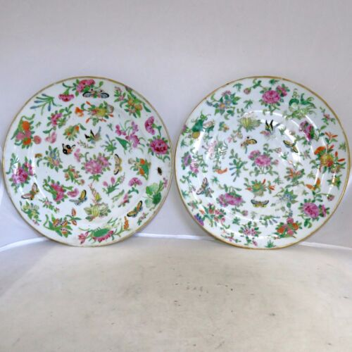 """2 Antique Chinese Famille Rose Plates w/ Flowers, Fruit & Butterflies  (9.65"""")"""