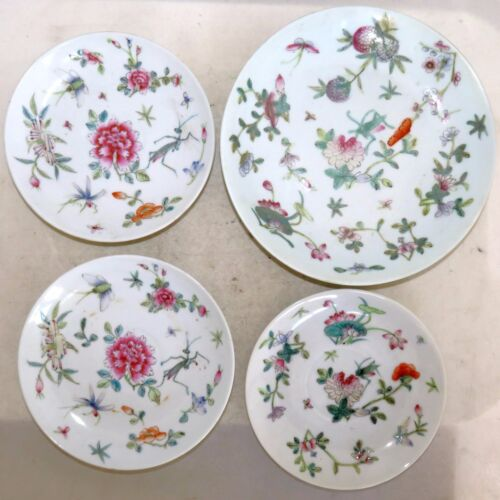 "4 Antique Chinese Famille Rose Plates w/ Flowers & Insects  (7.25"" to 5.4"")"