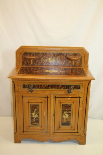 New England Sheraton Country Painted Pine Wash Stand Commode  Circa 1840s'