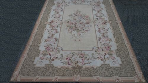 Needle Point Rug JOSEPHINE, Taupe, Hand-Cross-Stitched Wool French Style 6x9