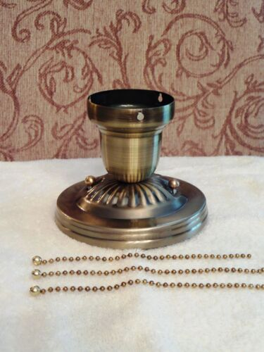 LOOK!!!  NEW BRASS 3-CHAIN LIGHT FIXTURE -VINTAGE ART DECO SHADE Three Chain