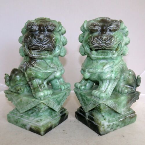 "7.3"" Pair of Chinese Carved Green & Celadon JADEITE Jade Foo Dogs  (10+ pounds)"