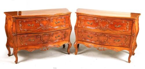 Pair Louis XV Style Walnut Italian Carved Bombe COMMODES Dresser Chests