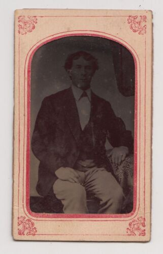 Vintage Photo MAN SITTING IN CHAIR Matted Tintype P02
