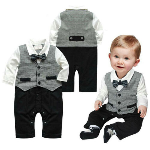 Baby Boys Wedding Tuxedo Formal Dressy Party Suit One Piece Outfit Clothes 0-18M