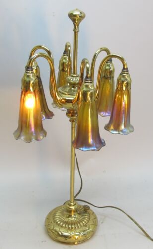 Antique Signed Tiffany Studios Gold Dore Lily 6-Lamp #28590 c. 1910 art glass