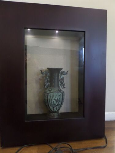 CHINESE LUCKY PHOENIX WALL ART VASE BRONZE GLASS FRAME REPRODUCT S:27 1/2X21 1/4