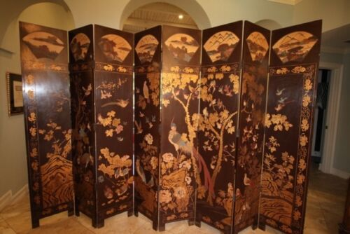 18Th Century Chinese Coromandel 8 Panel Screen-Double Sided