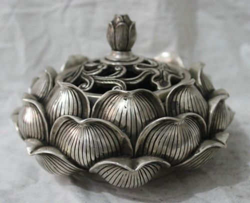 Chinese Folk Culture HandMade Silver Bronze statue lotus flower incense burner