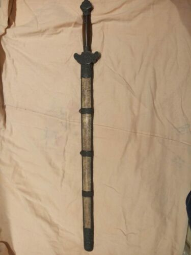 "Collectable Old Handmade Chinese ""Qing Jian"" Sword Sharp Old Blade Signed Rare"