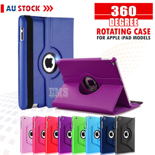 360 Rotate Leather Case Cover For Apple iPad 2 3 4 7th 6th Gen Air 1 2 Mini 2 3 <br/> ▲58,000+ Sold▲Smart Auto Sleep/Awake▲AUS Stock▲