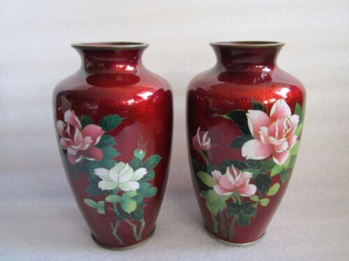"Gorgeous Antique Japanese Pigeon Blood Ginbari ""Melon"" Cloisonné Vase MINT"