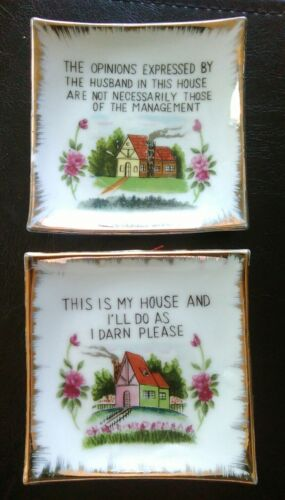 2 Vtg Fairway Japan Trinket Tray Wall Plaque Opinions Expressed & I Darn Please