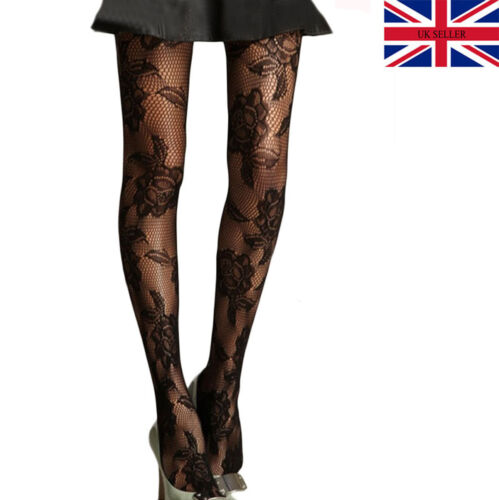 DELUXE Black Floral Rose Patterned Tights Ladies Womens New Pattern Pantyhose UK