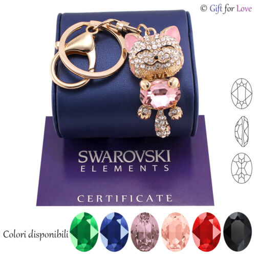 Portachiavi oro donna Swarovski Elements originale G4Love cristalli gatto
